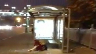 Drunk Girl Doesn't See Bus Sign