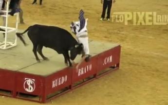 Angry Bull Power Slams Man Into Dirt