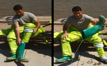 Emergency Responder Pours Sweat Out Of His Boot